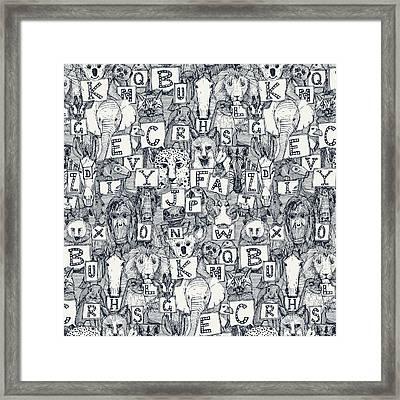 Animal Abc Indigo Ivory Framed Print