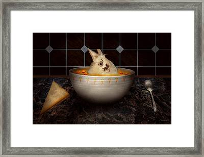 Animal - Bunny - There's A Hare In My Soup Framed Print by Mike Savad