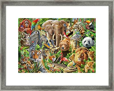 Framed Print featuring the drawing Animal Mix by Adiran Chesterman
