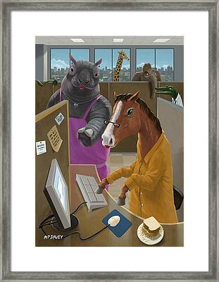 Animal Office Framed Print by Martin Davey