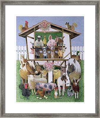 Animal Playhouse Oil On Canvas Framed Print by Pat Scott