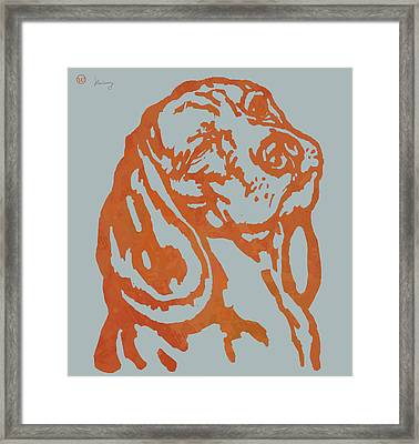 Animal Pop Art Etching Poster - Dog 11 Framed Print by Kim Wang