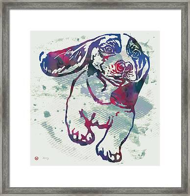 Animal Pop Art Etching Poster - Dog - 6 Framed Print by Kim Wang