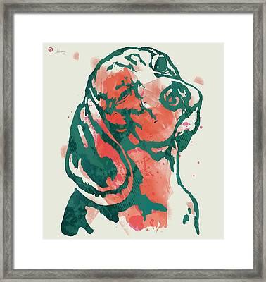 Animal Pop Art Etching Poster - Dog - 7 Framed Print by Kim Wang