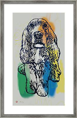 Animal Pop Art Etching Poster - Dog - 8 Framed Print by Kim Wang