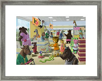 Animal Supermarket Framed Print by Martin Davey