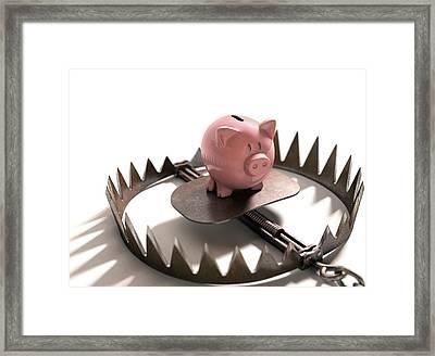 Animal Trap With Piggy Bank Framed Print by Ktsdesign