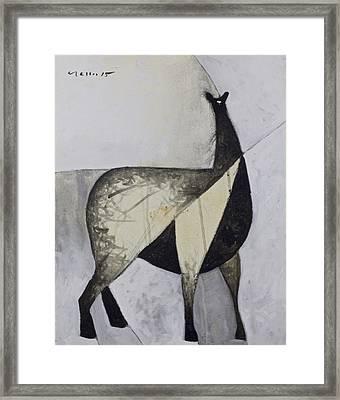 Animalia Standing Llama  Framed Print by Mark M  Mellon