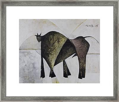 Animalia Walking Bull Framed Print