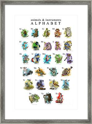 Animals And Instruments Alphabet Framed Print by Sean Hagan