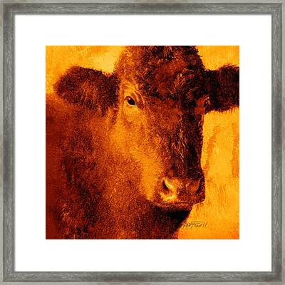 animals- cows- Brown Cow Framed Print by Ann Powell