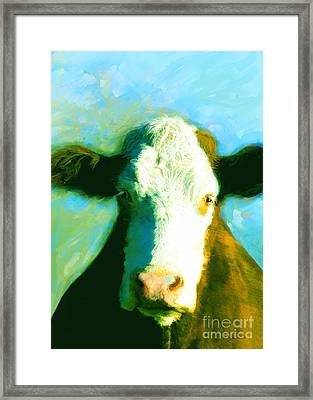 Animals Cows Sun And Shadow Painting By Ann Powell Framed Print by Ann Powell