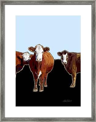 Animals Cows Three Pop Art With Blue Framed Print by Ann Powell