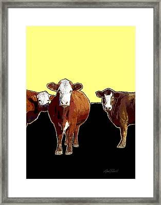Animals Cows Three Pop Art With Yellow  Framed Print by Ann Powell