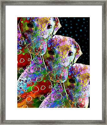 animals - dogs- Colorful Dog Collage Framed Print by Ann Powell