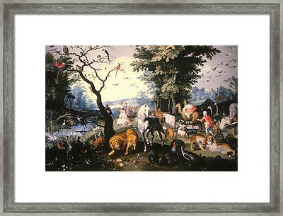 Animals Entering Noah's Ark Framed Print by Mountain Dreams