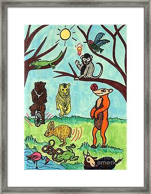 Animals In The Park Framed Print