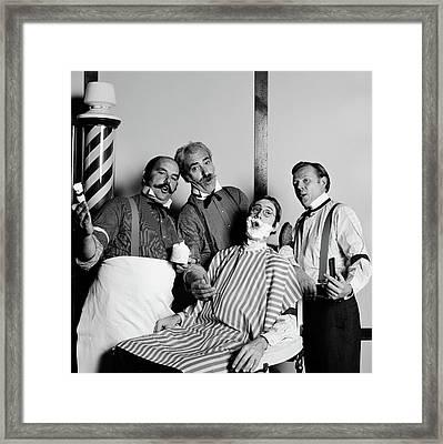 Animated Barbershop Quartet Singing Framed Print