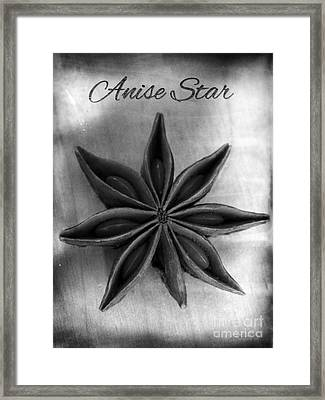 Anise Star Single Text Distressed Black And Wite Framed Print