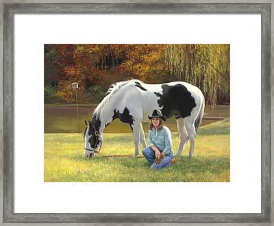 Anita And Horse Framed Print by Laurie Hein
