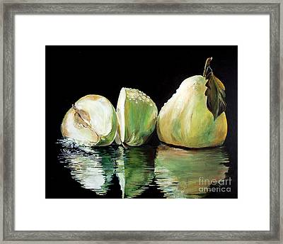 Anjou's Splash Framed Print by Iya Carson