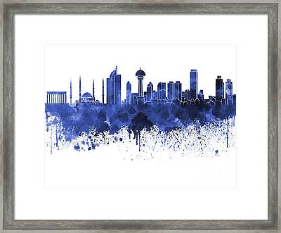 Ankara Skyline In Blue Watercolor On White Background Framed Print by Pablo Romero