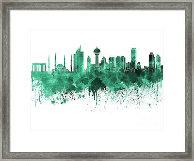 Ankara Skyline In Green Watercolor On White Background Framed Print by Pablo Romero