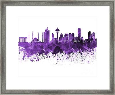 Ankara Skyline In Purple Watercolor On White Background Framed Print by Pablo Romero