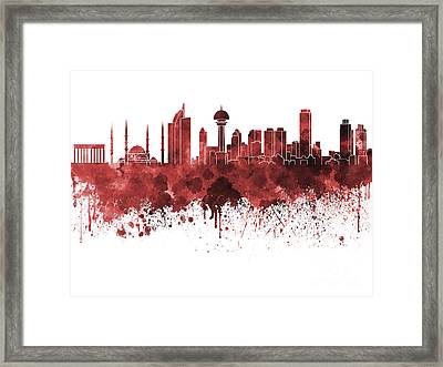 Ankara Skyline In Red Watercolor On White Background Framed Print by Pablo Romero