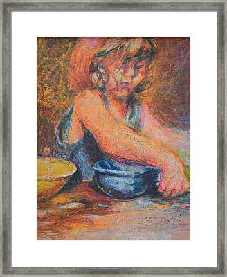 Anna And Mixing Bowls Framed Print by Nancy Mauerman