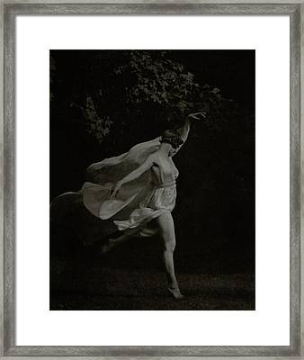 Anna Duncan In Character As A Wood Nymph Framed Print by Arnold Genthe