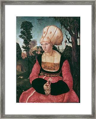 Anna Putsch First Wife Of Johannes Cuspinian Framed Print by Lucas Cranach the Elder