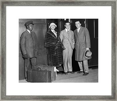 Anna Q. Nilsson Arrives In Ny Framed Print by Underwood Archives