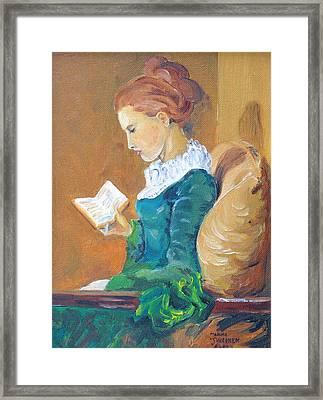 Anna Reading Framed Print by Janina  Suuronen