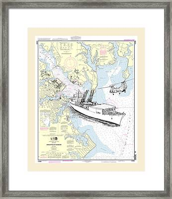 Annapolis Harbor Transport Ship Chopper Framed Print