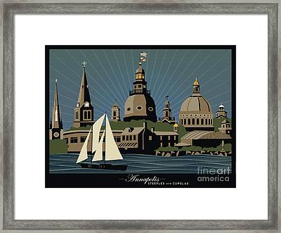 Annapolis Steeples And Cupolas Serenity With Border Framed Print by Joe Barsin
