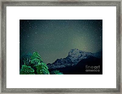 Annapurna At Night Sky In Himalayas Mountain Nepal 2014 Artmif.lv Framed Print by Raimond Klavins