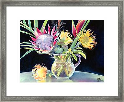 Anna's Protea Flowers Transparent Framed Print