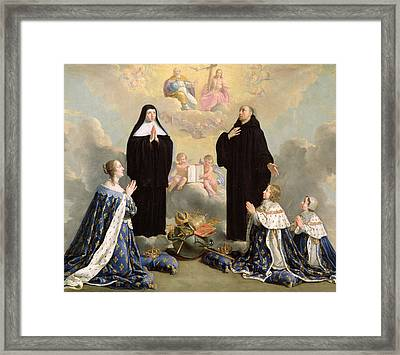 Anne Of Austria 1601-66 And Her Children At Prayer With St. Benedict And St. Scholastica, 1646 Oil Framed Print by Philippe de Champaigne