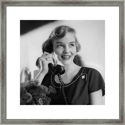 Anne Schroeder Anderson With A Telephone Framed Print by Karen Radkai