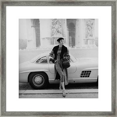 Anne St. Marie By A Mercedes-benz Car Framed Print by Henry Clarke