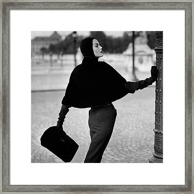 Anne St. Marie Wearing A Sealskin Cape Framed Print