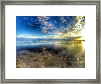 Anne's Beach With Kite Surfer Framed Print