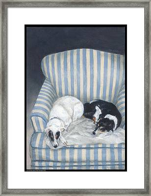 Annie And Spike Napping Framed Print by Diana Moses Botkin