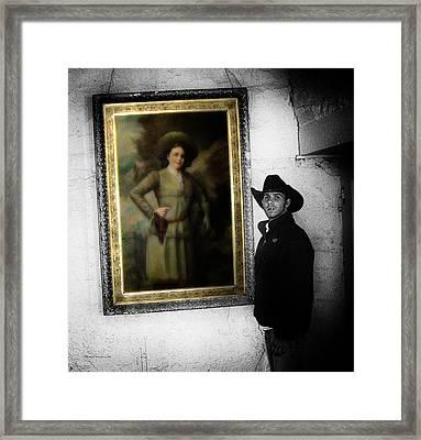 Annie Oakley With A Cowboy Framed Print by Thomas Woolworth
