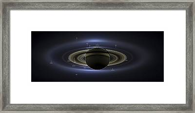 Annotated Saturn Mosaic With Earth Framed Print