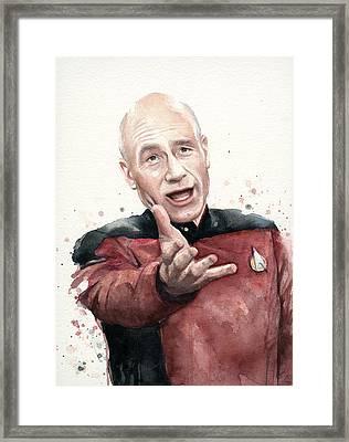 Annoyed Picard Meme Framed Print by Olga Shvartsur