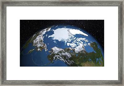 Annual Minimum Arctic Sea Ice Framed Print by Nasa's Scientific Visualization Studio