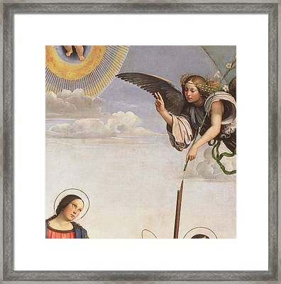 Annunciation And Saints, Detail Of The Archangel Gabriel, 1500 Framed Print by Francia