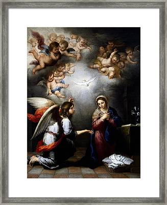Framed Print featuring the digital art Annunciation by Esteban Murillo